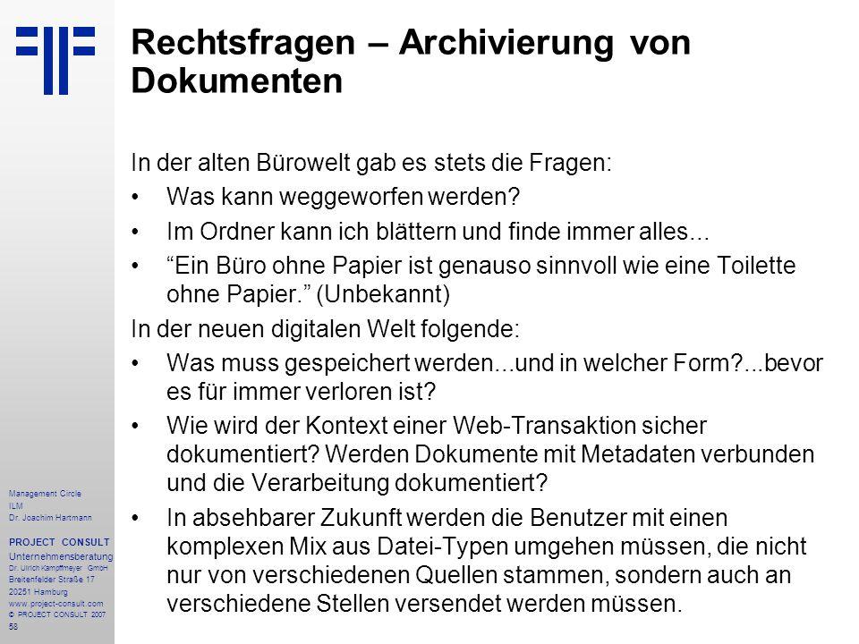 Rechtsfragen – Archivierung von Dokumenten