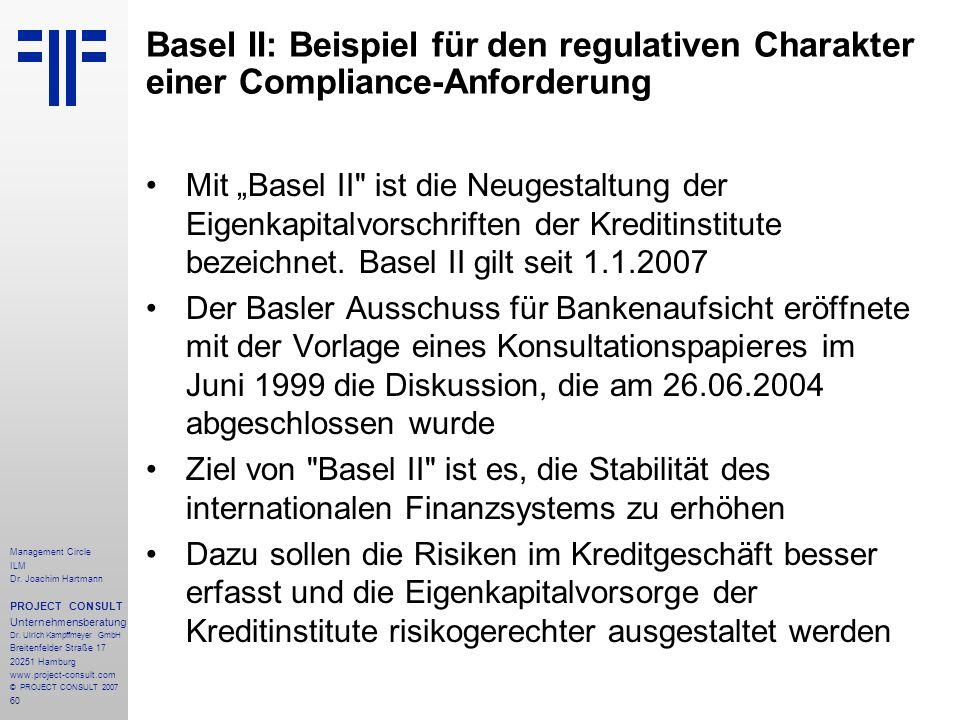 Basel II: Beispiel für den regulativen Charakter einer Compliance-Anforderung