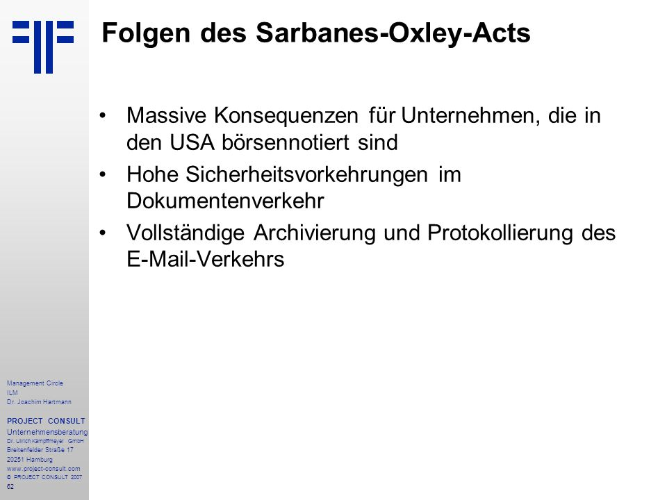 Folgen des Sarbanes-Oxley-Acts