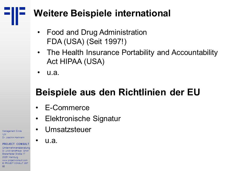 Weitere Beispiele international