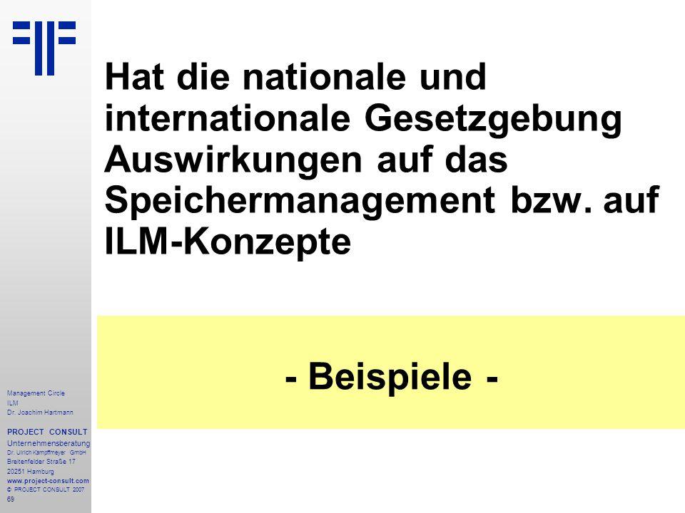 Hat die nationale und internationale Gesetzgebung Auswirkungen auf das Speichermanagement bzw. auf ILM-Konzepte