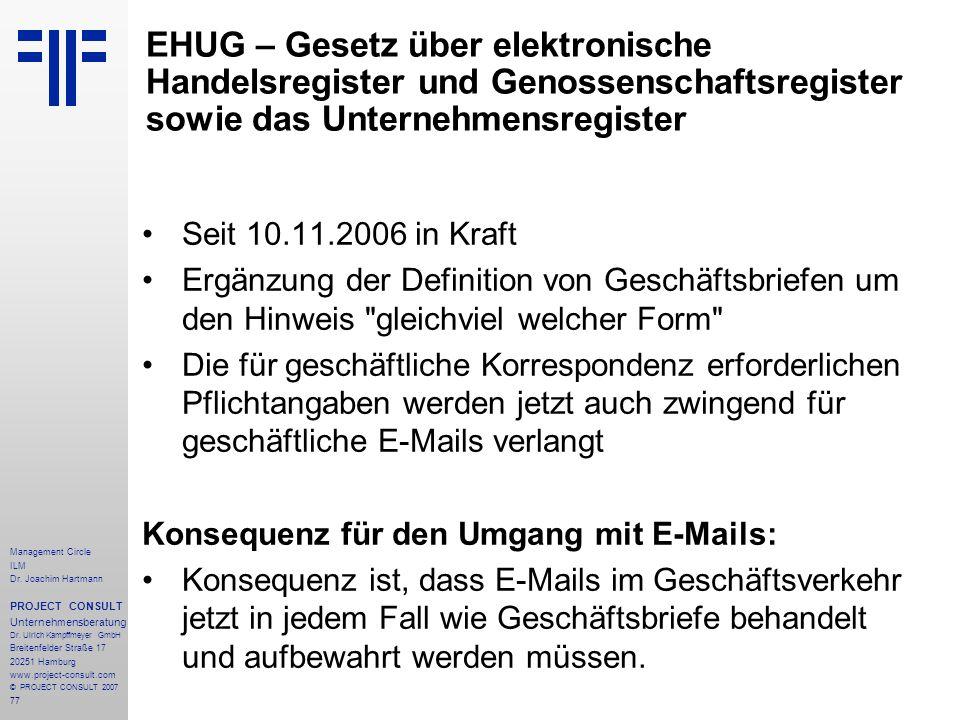 EHUG – Gesetz über elektronische Handelsregister und Genossenschaftsregister sowie das Unternehmensregister