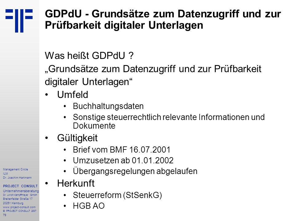 GDPdU - Grundsätze zum Datenzugriff und zur Prüfbarkeit digitaler Unterlagen