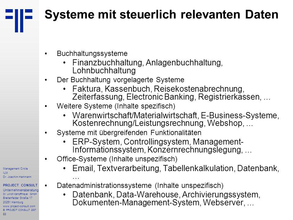 Systeme mit steuerlich relevanten Daten