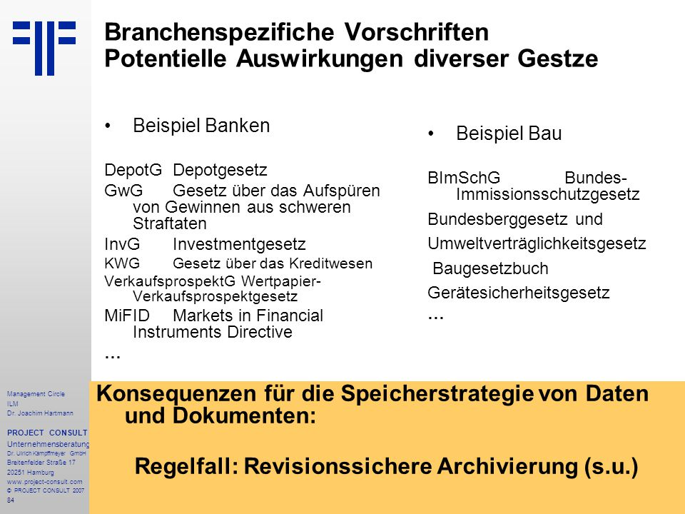 Regelfall: Revisionssichere Archivierung (s.u.)