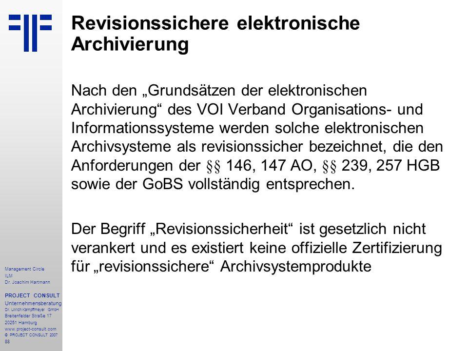 Revisionssichere elektronische Archivierung