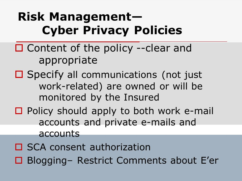 Risk Management— Cyber Privacy Policies