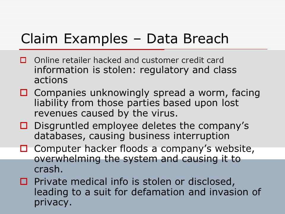Claim Examples – Data Breach