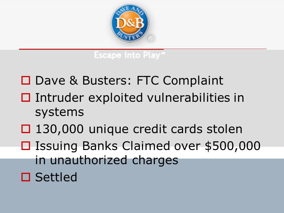 Dave & Busters: FTC Complaint