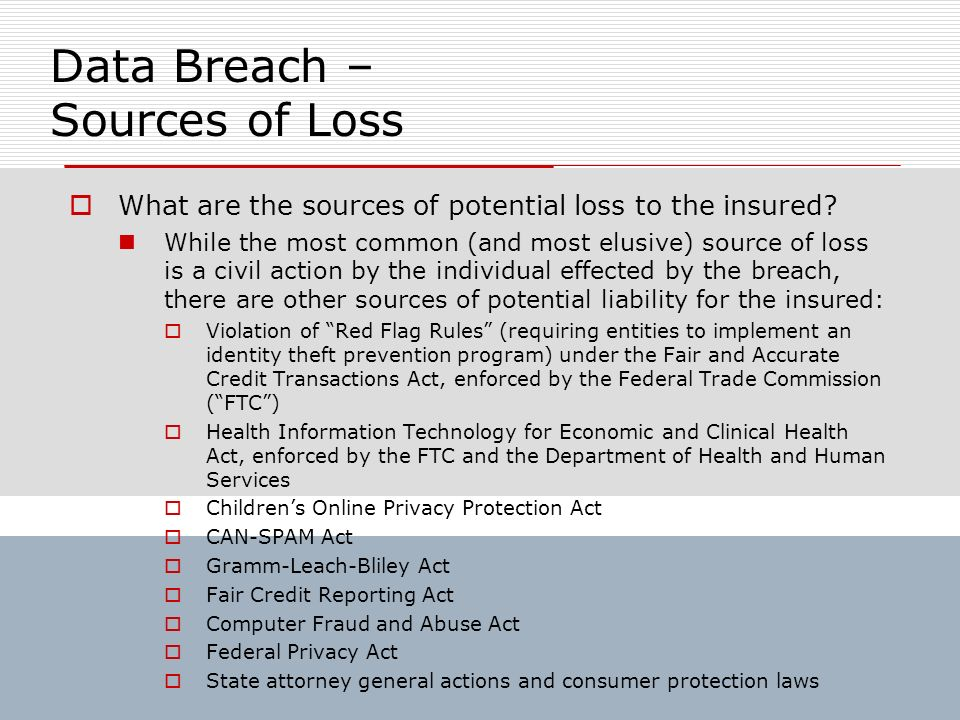 Data Breach – Sources of Loss