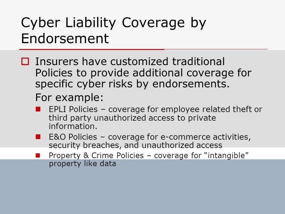 Cyber Liability Coverage by Endorsement