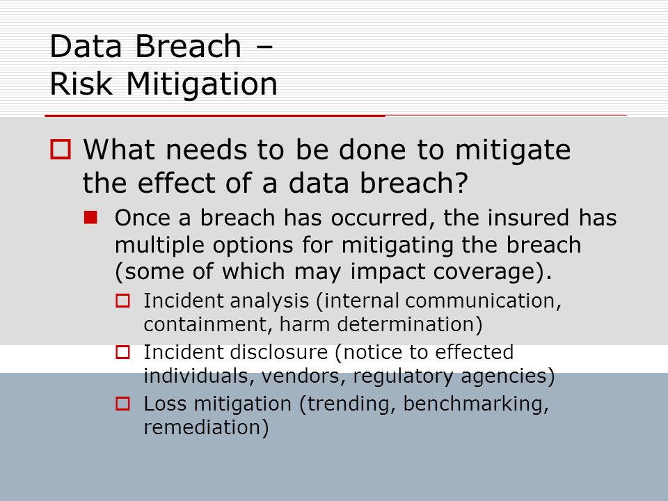 Data Breach – Risk Mitigation