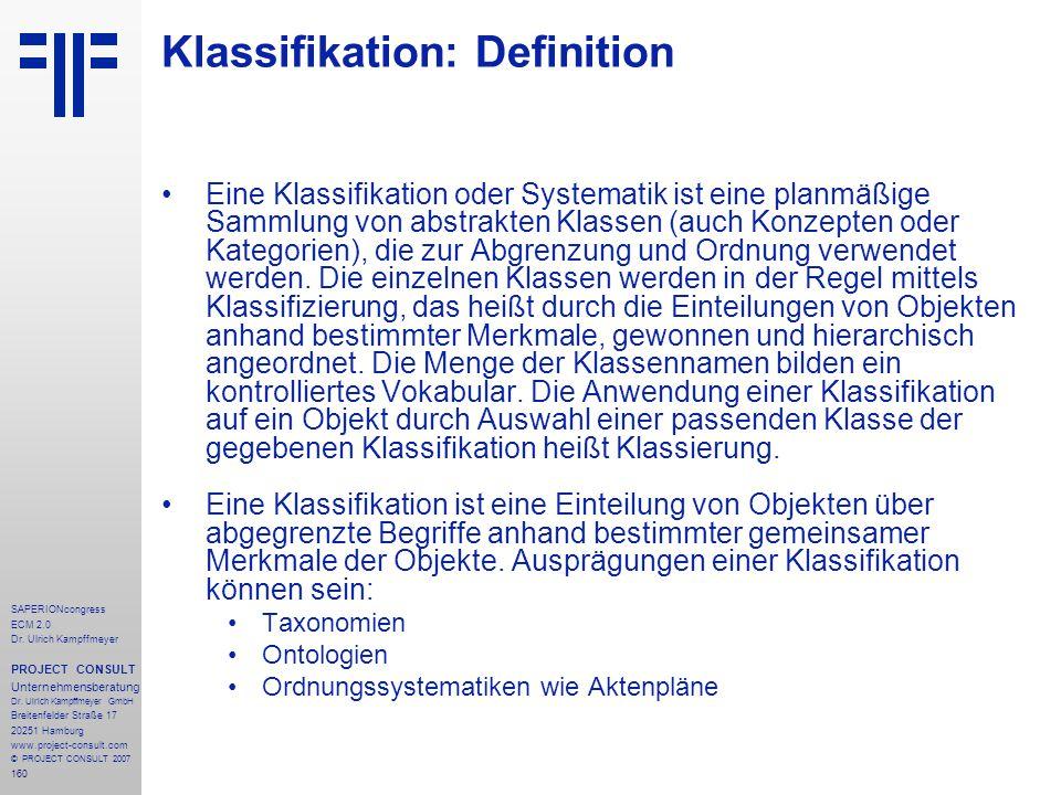 Klassifikation: Definition