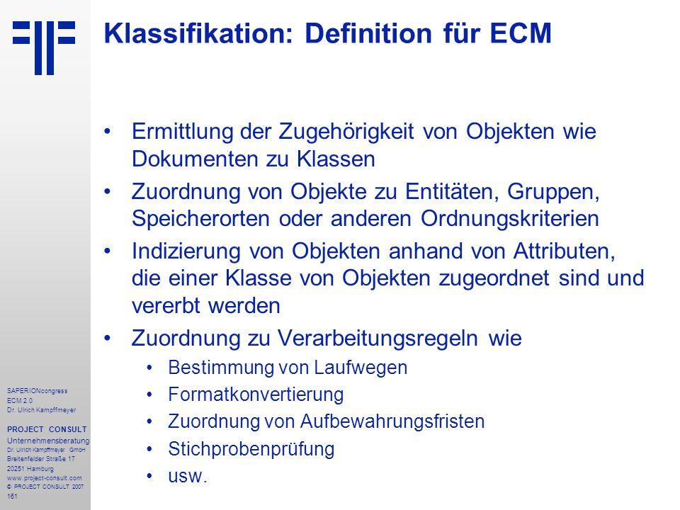 Klassifikation: Definition für ECM
