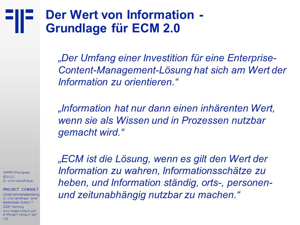 Der Wert von Information - Grundlage für ECM 2.0