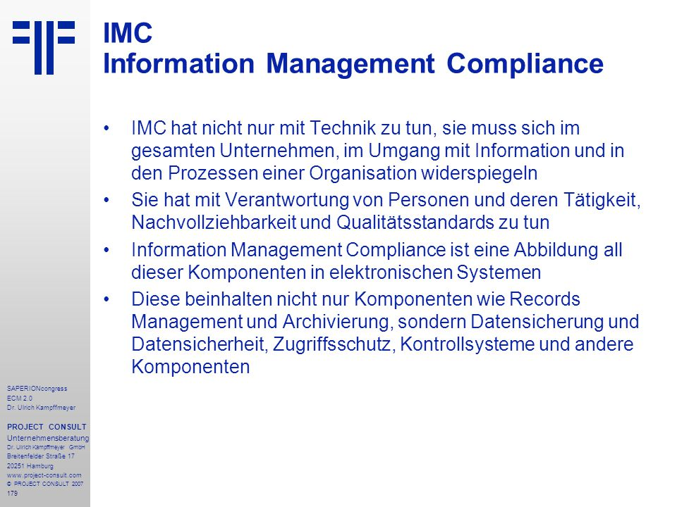 IMC Information Management Compliance