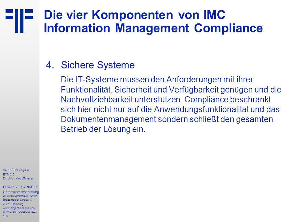 Die vier Komponenten von IMC Information Management Compliance
