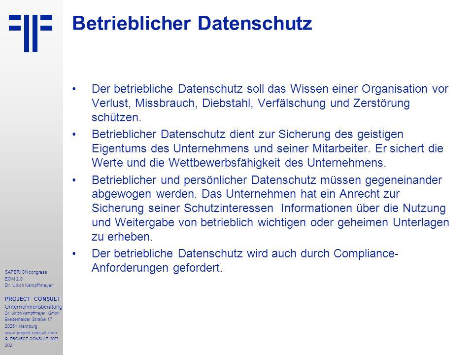 Betrieblicher Datenschutz