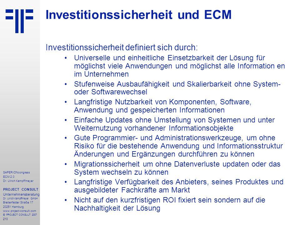 Investitionssicherheit und ECM