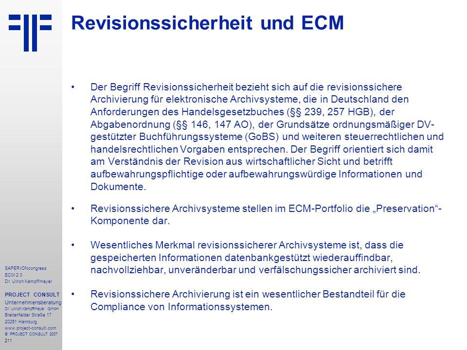 Revisionssicherheit und ECM