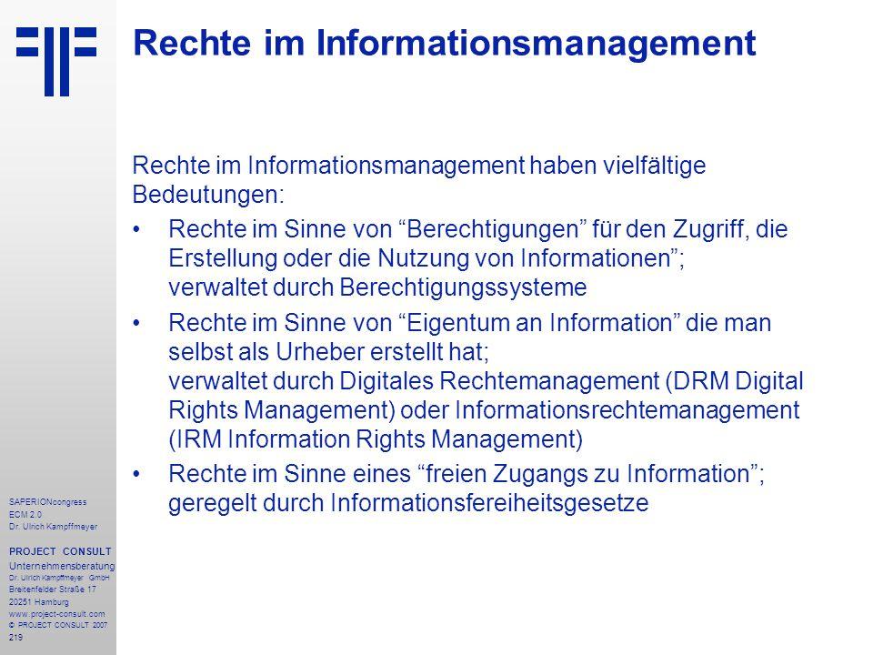 Rechte im Informationsmanagement