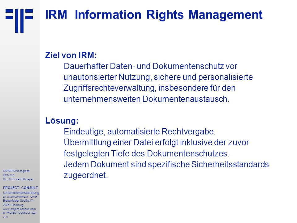 IRM Information Rights Management