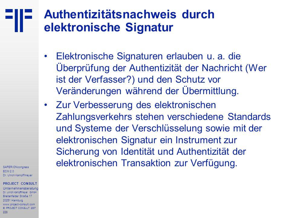 Authentizitätsnachweis durch elektronische Signatur
