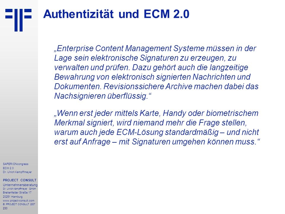 Authentizität und ECM 2.0