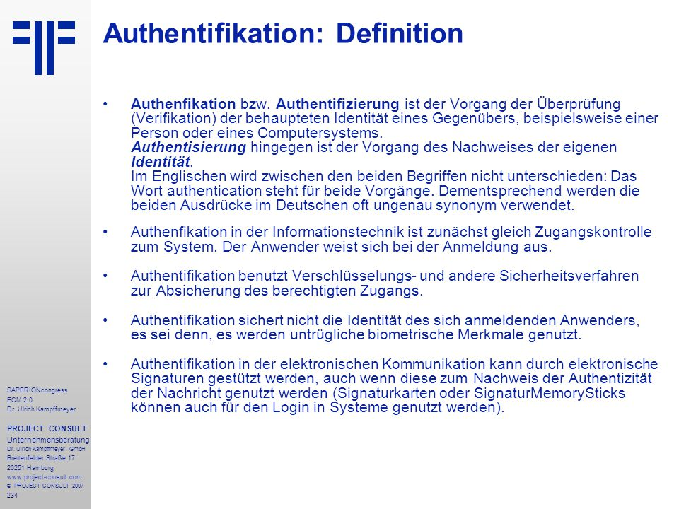Authentifikation: Definition