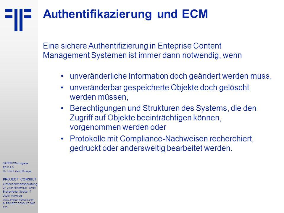 Authentifikazierung und ECM