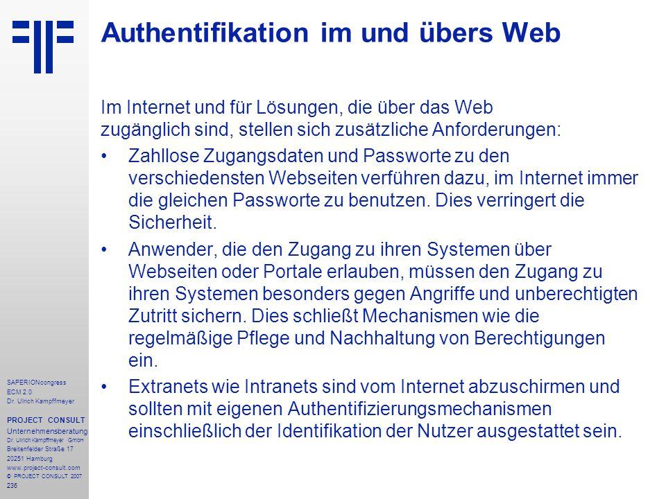 Authentifikation im und übers Web