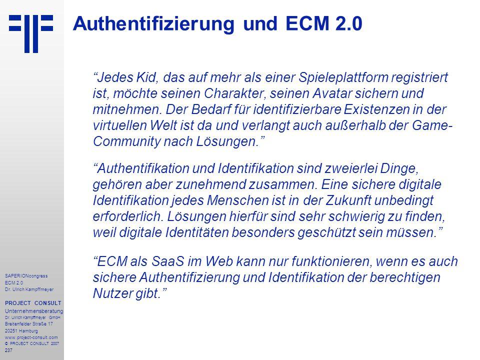Authentifizierung und ECM 2.0