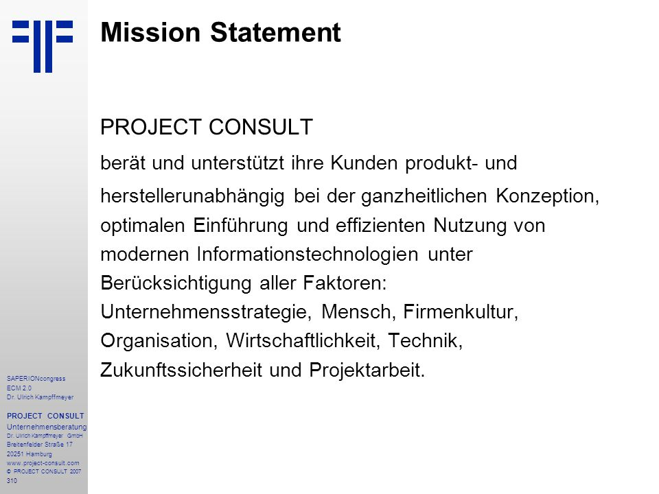 Mission Statement PROJECT CONSULT
