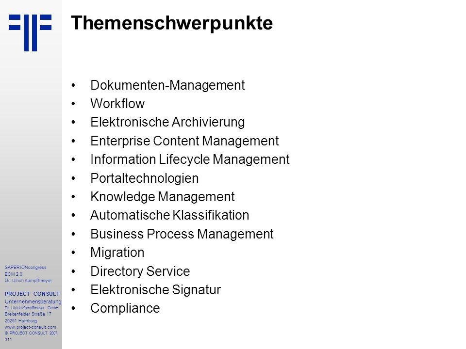 Themenschwerpunkte Dokumenten-Management Workflow