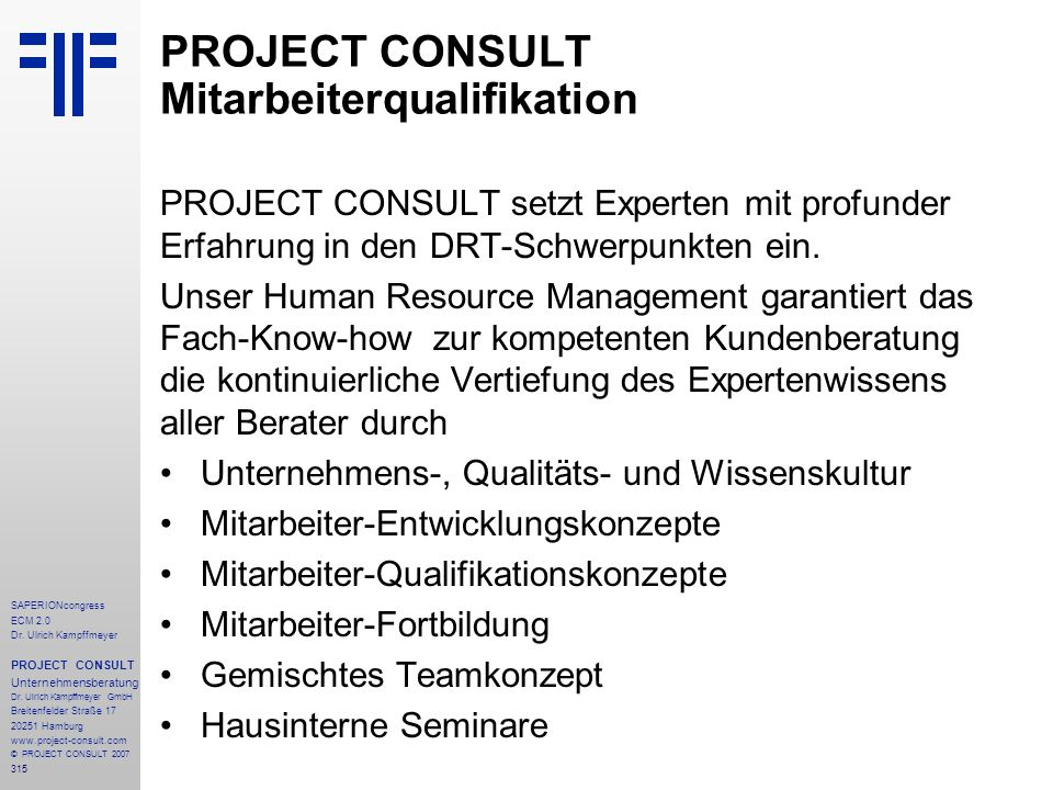 PROJECT CONSULT Mitarbeiterqualifikation