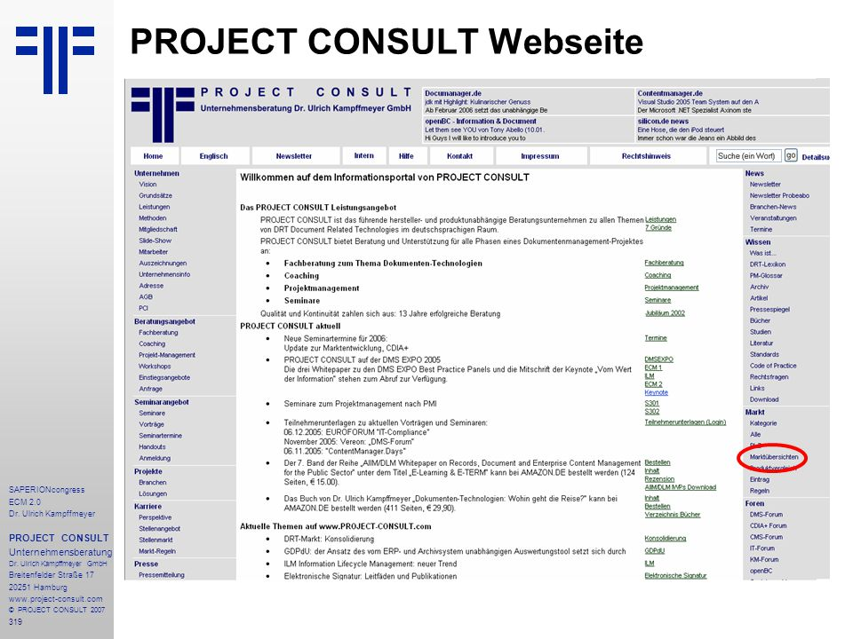 PROJECT CONSULT Webseite