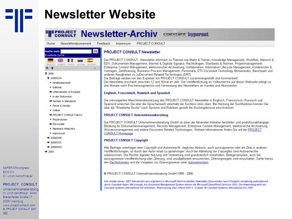 Newsletter Website PROJECT CONSULT Unternehmensberatung