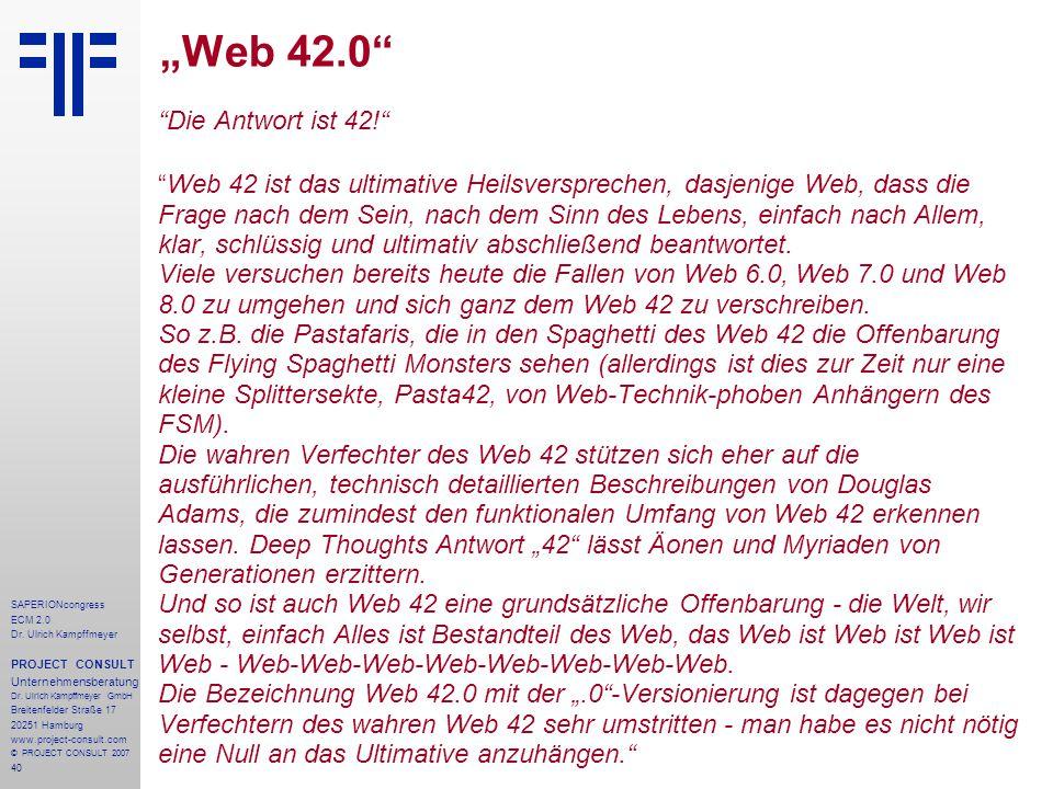 """""""Web 42.0 Die Antwort ist 42!"""