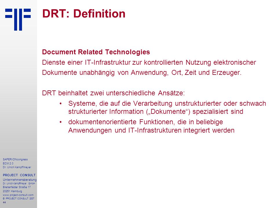 DRT: Definition Document Related Technologies