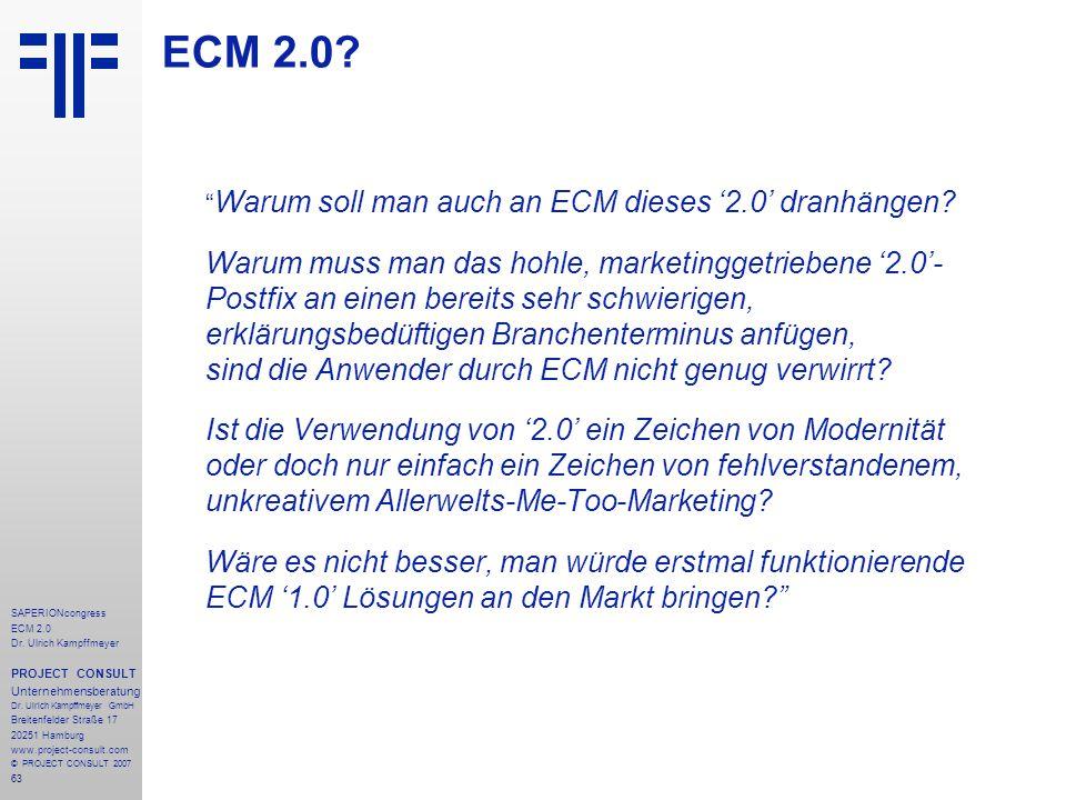 ECM 2.0 Warum soll man auch an ECM dieses '2.0' dranhängen