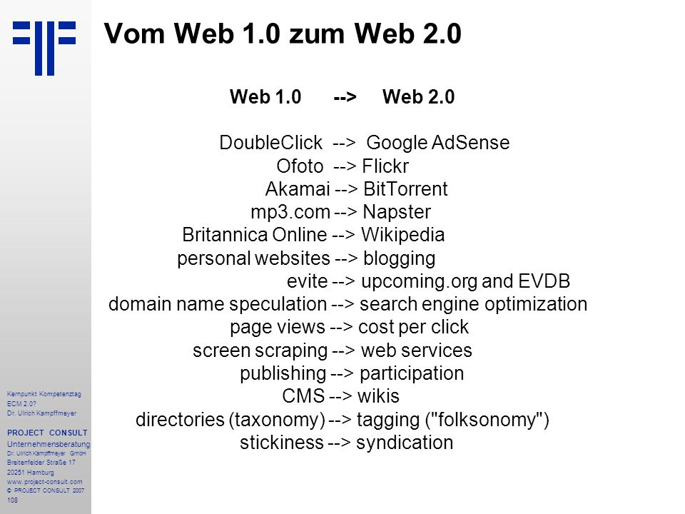 Vom Web 1.0 zum Web 2.0 Web 1.0 --> Web 2.0