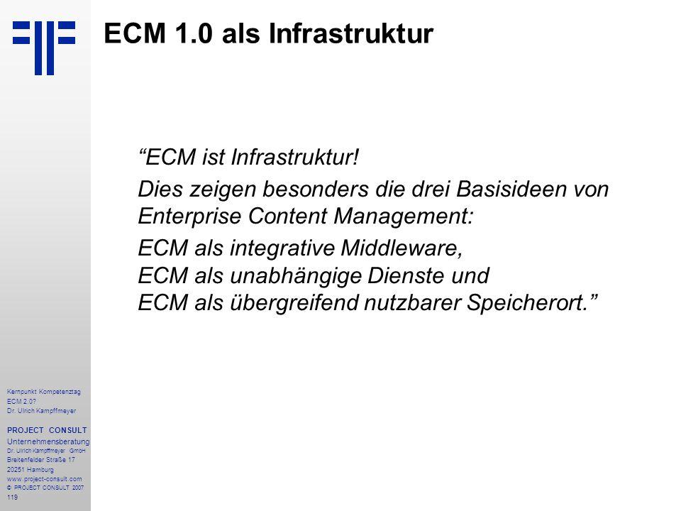 ECM 1.0 als Infrastruktur ECM ist Infrastruktur! Dies zeigen besonders die drei Basisideen von Enterprise Content Management:
