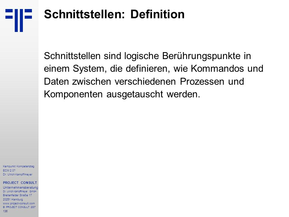 Schnittstellen: Definition