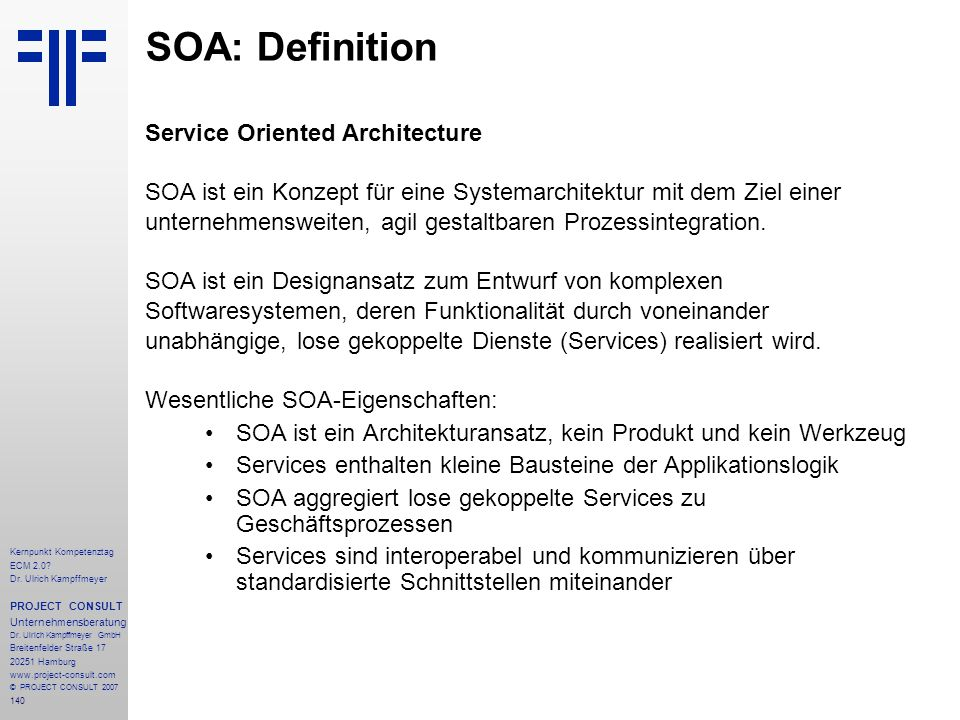 SOA: Definition Service Oriented Architecture