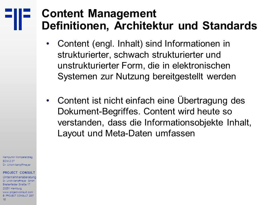 Content Management Definitionen, Architektur und Standards