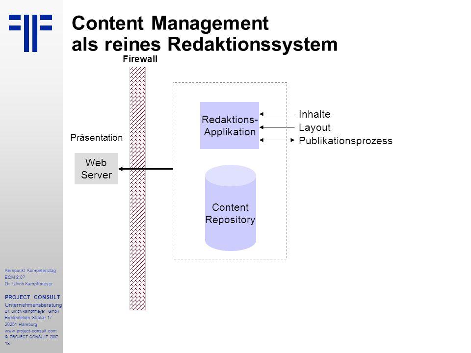 Content Management als reines Redaktionssystem