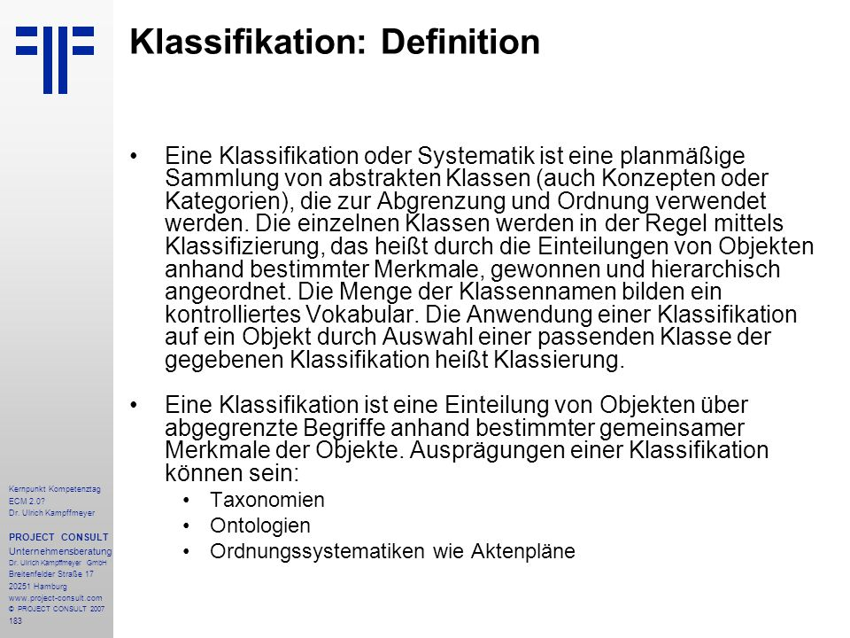 Klassifikation: Definition