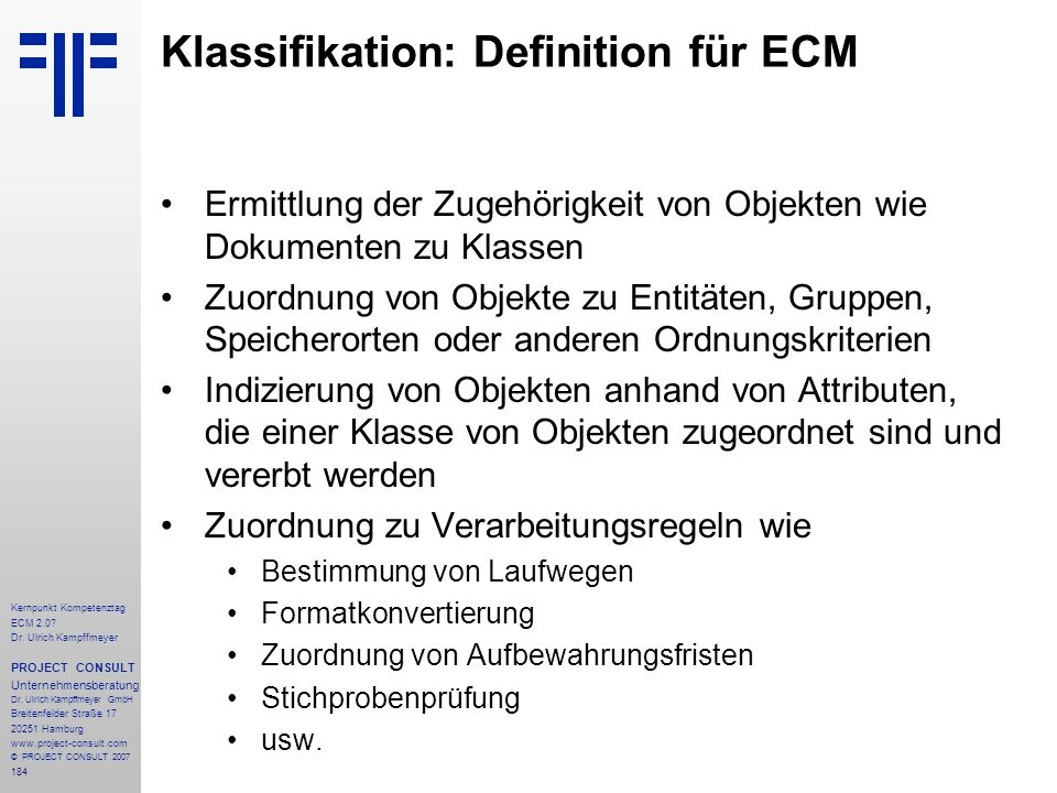 Klassifikation: Definition für ECM