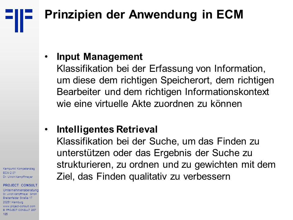 Prinzipien der Anwendung in ECM