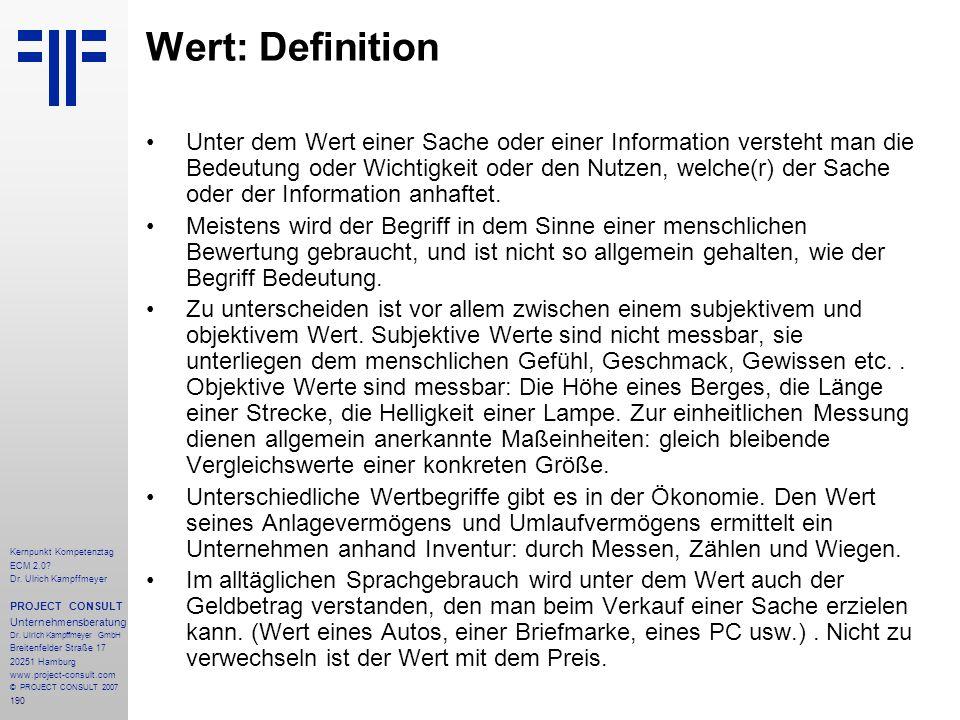 Wert: Definition